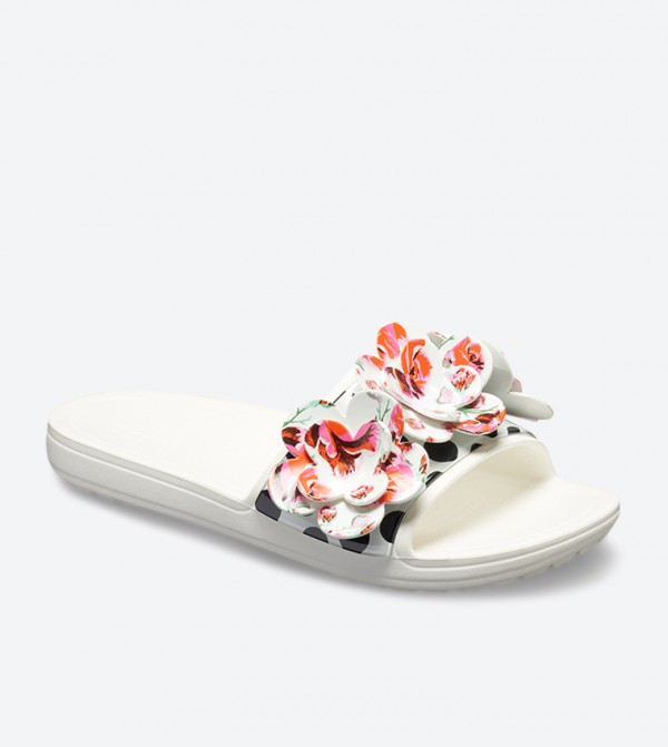 ddaefe4a2fa Sloane Timeless Rose Embroidered Slides - White 205256-100