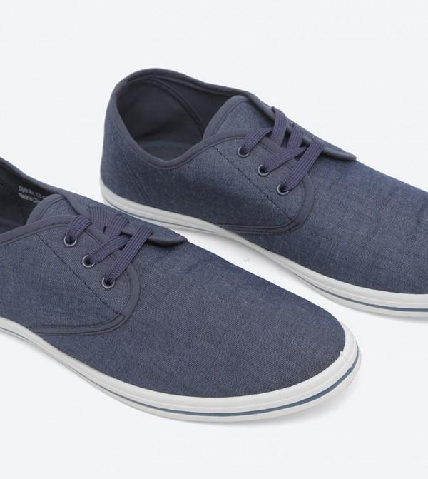 PVC Mens Canvas Shoes - Navy Blue