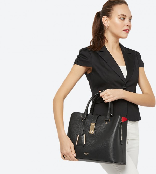 96428c097220 Diella Triple Compartment Unlined Shopper Bag - Black 0019500110222038