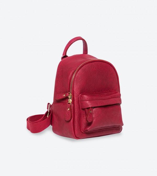019864cc53cc7 حقيبة ظهر بلون أحمر داكن