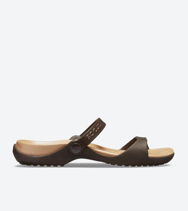 ef19f85ec6e4 Crocs Cleo Two Strap Round Toe Sandals - Brown 10043-23Q