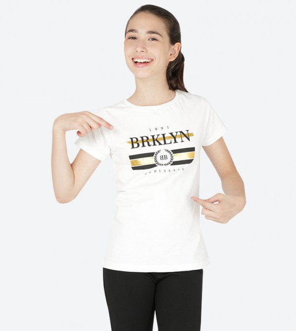 b4804a2467 R&B Basic Graphic Printed Short Sleeve T-Shirt - White