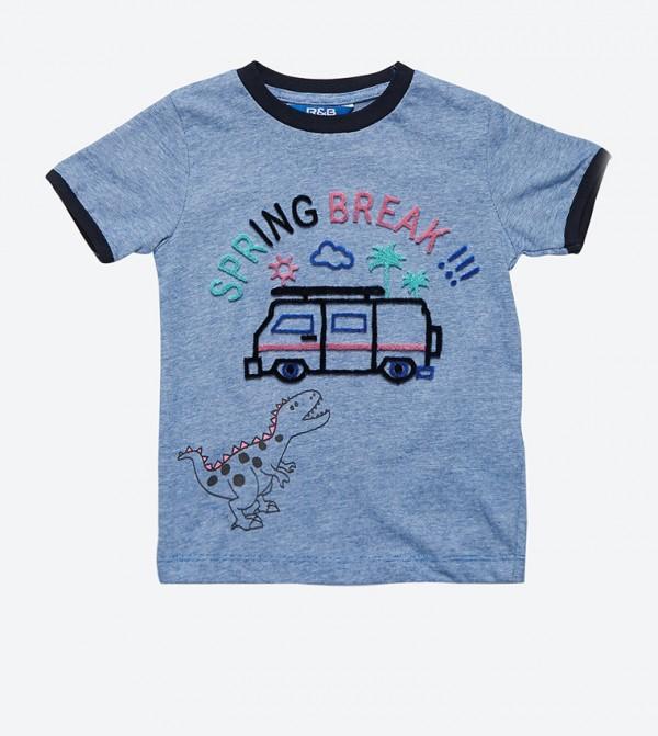 fcfc13f2f R&B Short Sleeve Graphic Printed T-Shirt - Blue