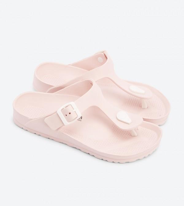 0622754f504c Buckle Closure Round Toe Thong Flip Flops - Light Pink