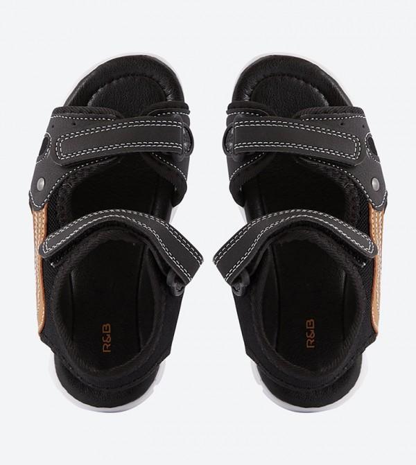 a3d850ccbea4 Round Toe Double Velcro Strap Closure Sandals - Black