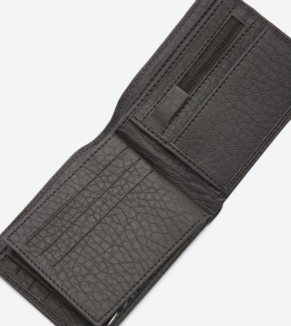 Stitching Details Foldable Multiple Slots Wallet - Black