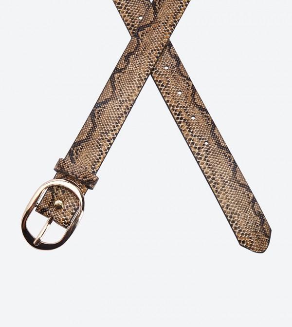 1a677dfb4 حزام بنمط جلد الأفعى لون بني