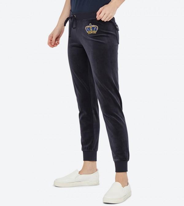 5a1eed2c2756 Luxe Crown Velour Zuma Pants - Dark Blue 148-WTKB187850