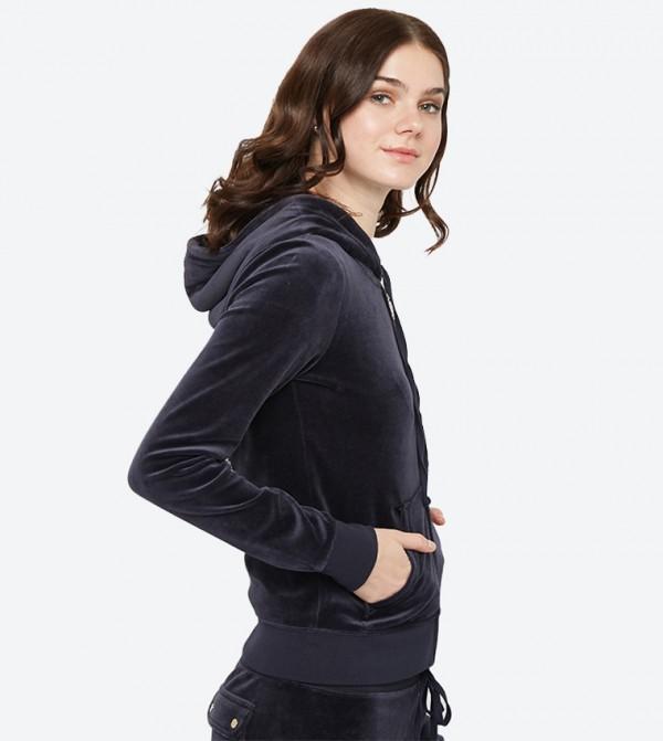 5b01a57ba08f Long Sleeve Luxe Crown Velour Robertson Hoodie - Dark Blue 148-WTKJ187847