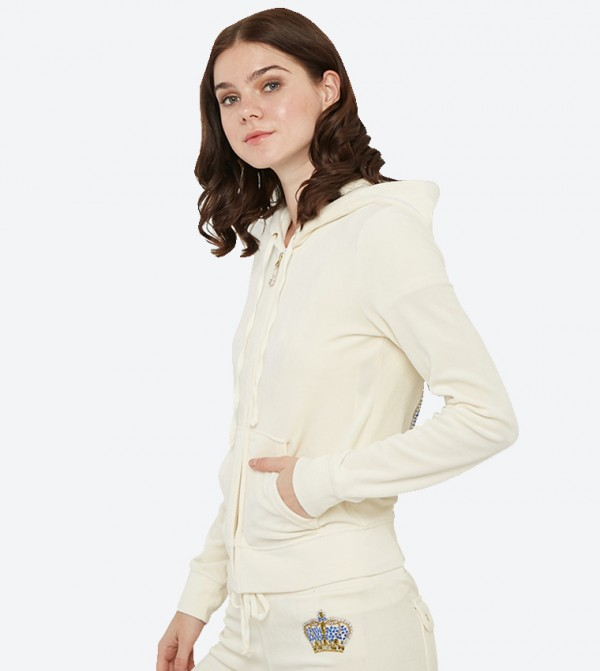 7a38900e47e6 Long Sleeve Luxe Crown Velour Robertson Hoodie - White 148-WTKJ187847
