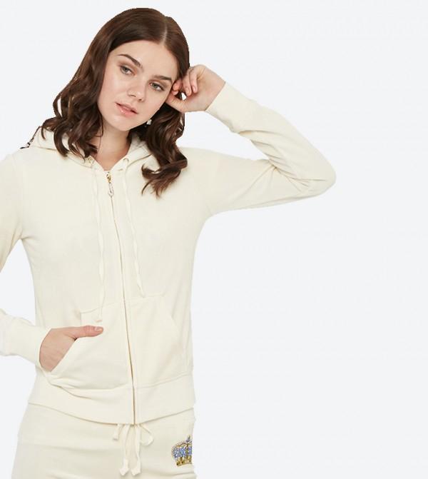 ce6dab14583e Home  Long Sleeve Luxe Crown Velour Robertson Hoodie - White 148-WTKJ187847.  148-WTKJ187847-WHITE