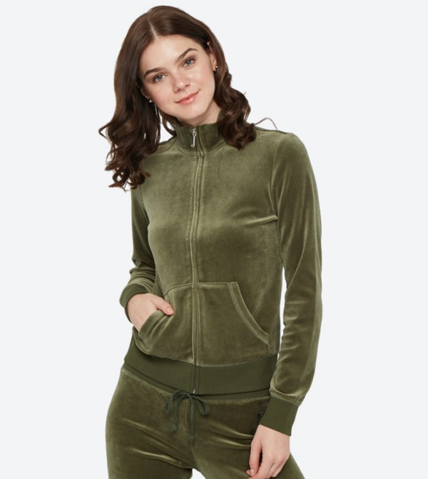 9cebb45520cc Juicy Couture Dripping Juicy Sequin Velour Fairfax Jacket - Green  148-WTKJ187930
