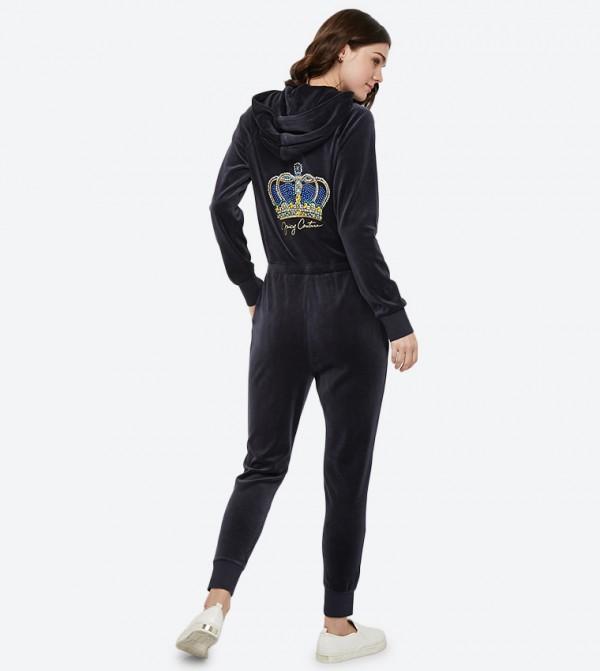 9b015ad0b0bd Long Sleeve Luxe Crown Velour Jumpsuit - Dark Blue 148-WTKR187903