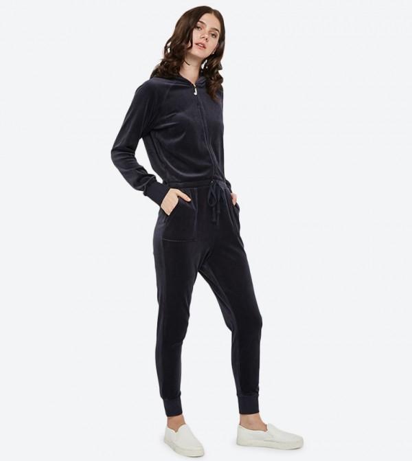 4443065eaf23 Juicy Couture Long Sleeve Luxe Crown Velour Jumpsuit - Dark Blue  148-WTKR187903