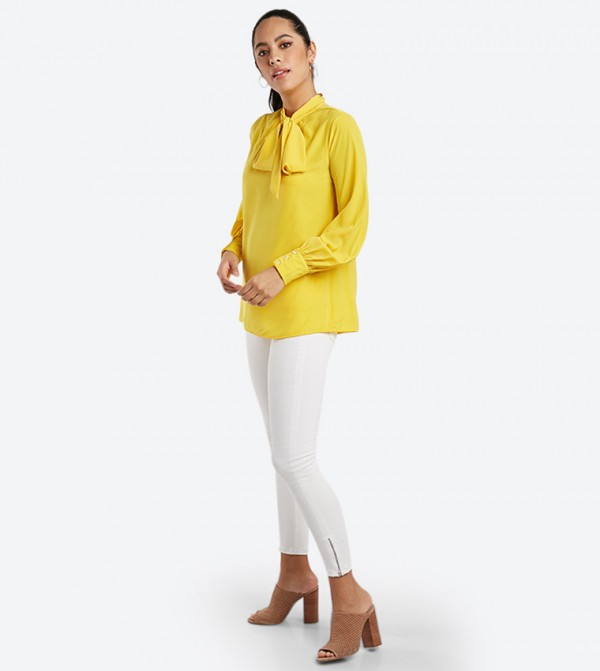a9eeb9d6a218a Bow Details Long Sleeve Top - Yellow 1813065300