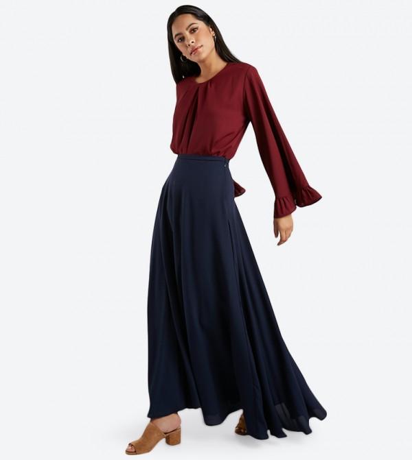 9f6e51081e65 Flared Maxi Skirt - Navy 1815056401