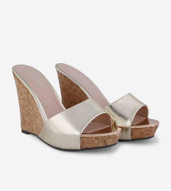 897e8901fbe8 Open Toe Platform Wedge Sandals - Gold