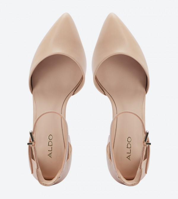 f1120554114 Keclya Ankle Strap Pointed Toe Pumps - Beige
