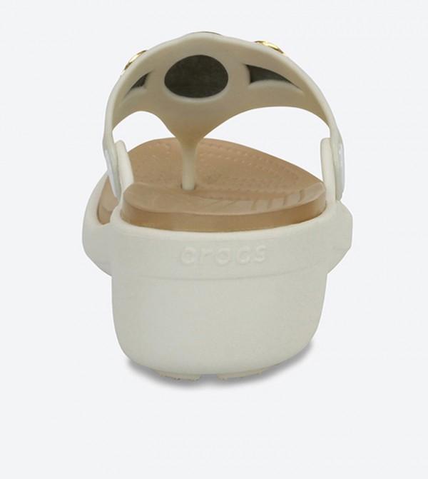 1648a3e2ffe Sanrah Embellished Wedge Flip Flops - Off White 204009-13S