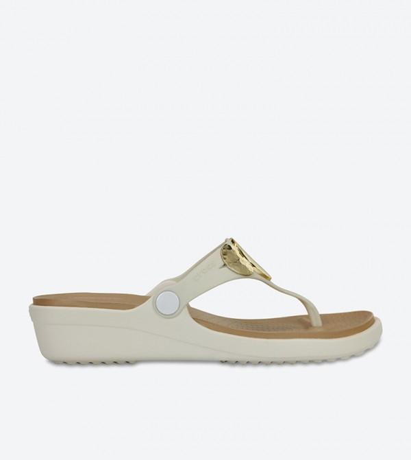 f9b350afd664 Crocs Sanrah Embellished Wedge Flip Flops - Off White 204009-13S