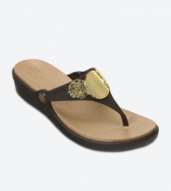 005dff8a23f Sanrah Embellished Wedge Flip Flops - Brown 204009-23Q