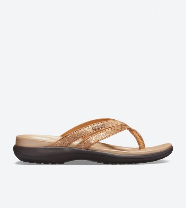 5047a4ee8b51 Crocs Capri Strappy Round Toe Flip Flops - Brown 205478-80Z