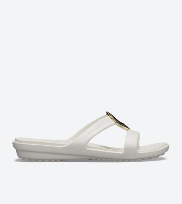 63b8398be3d8 Crocs Sanrah Metal Block Round Toe Sandals - White 205592-995