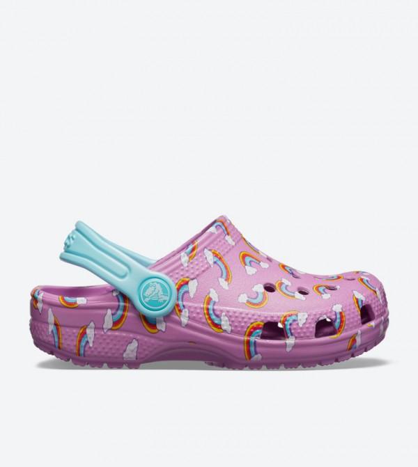 1377096d9b552 Crocs Classic Seasonal Graphic Round Toe Clogs - Purple 205620-508