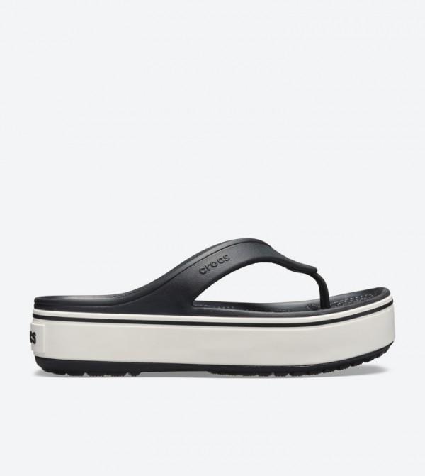 cde45f305cf7 Home  Crocband Platform Round Toe Flip Flops - Black 205681-066. 205681-066- BLACK-WHITE