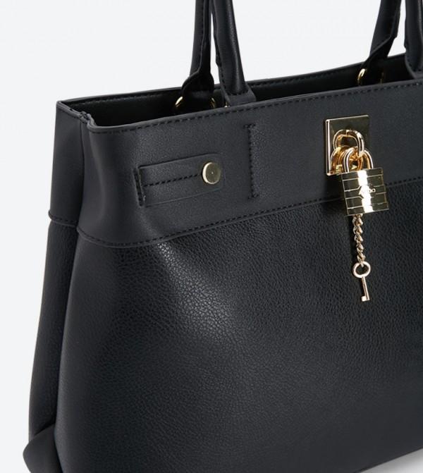 35363014b53 Genualdi Padlock Top Handle Bag - Black 23340403-GENUALDI