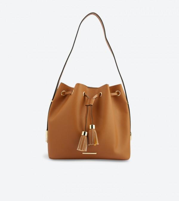 1850e80a52 Aldo Landwehr Tassel Details Hobo Bag - Tan