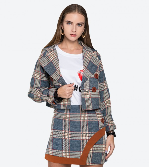 5b1b99fac0 OWN THE LOOKS Tartan Printed Lapel Collared Jacket And Skirt Set (2 Pcs) -  Blue