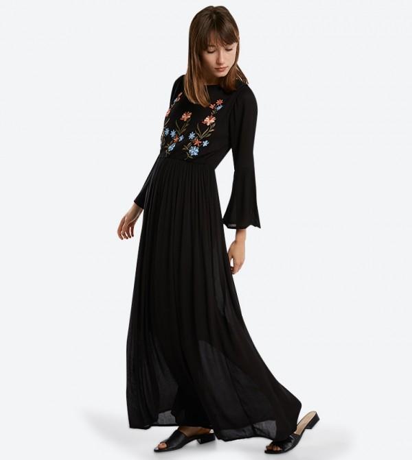 c0da04dac Home; Embroidered Long Sleeve Maxi Dresses - Black. 318-1043WY002-2-BLACK