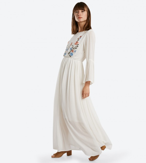 83af2fc85a8d Home; Embroidered Long Sleeve Maxi Dresses - Ivory. 318-1043WY002-2-IVORY