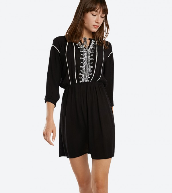4c855c3bd16 Home  Embroidered 3 4 Length Sleeve Mini Dresses - Black. 318-1043WY005-2 -BLACK