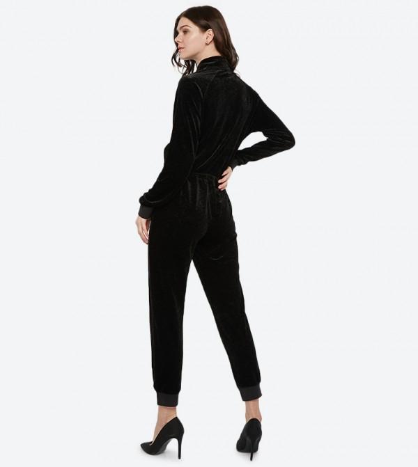 79fe7aed914e Juicy Couture Long Sleeve Textured Velvet Jumpsuit - Black 348-WTKR188710