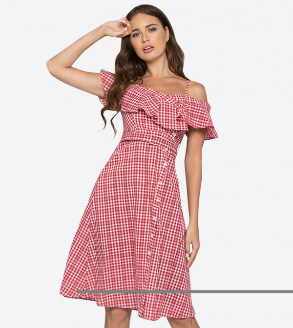 4e0cc450f5 OWN THE LOOKS Plaid Bardot Side Button Midi Dress - Red