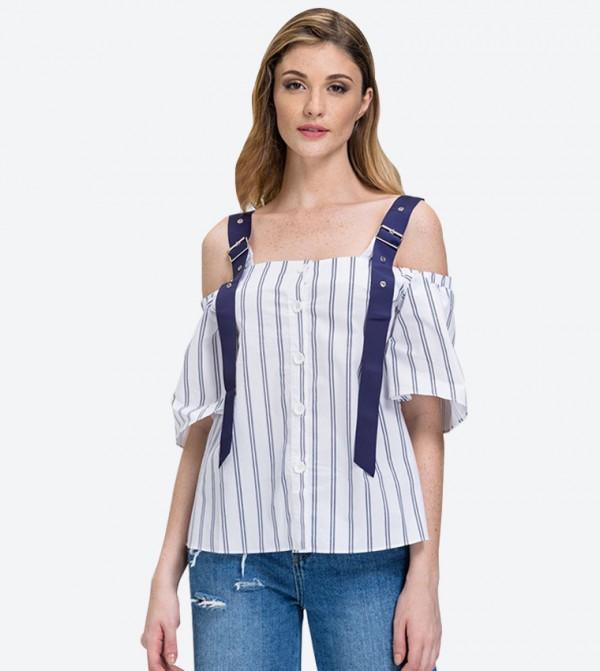 c96144c2b21 Belt Strap Stripe Cold Shoulder Top - White