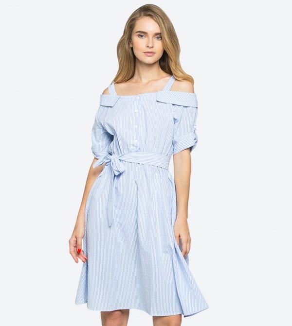 aa01165ba30 Cold Shoulder Ribbon Strap Striped Printed Dress - Blue