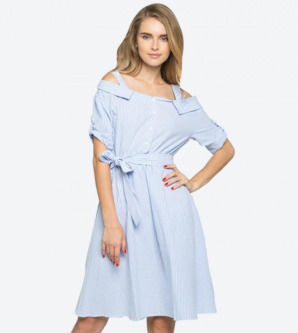 a23374eebeb Home; Cold Shoulder Ribbon Strap Striped Printed Dress - Blue. 611B-BLUE- WHITE