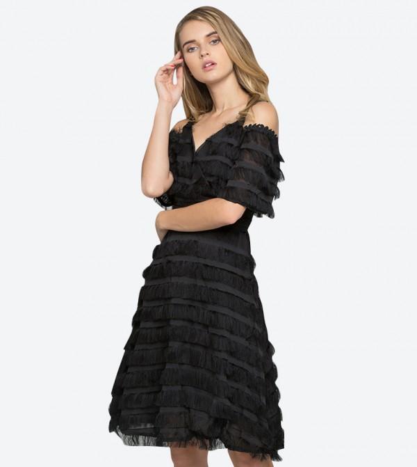 d4ea5b38e46 Cols Shoulder V Neck Fringe Mini Dress - Black