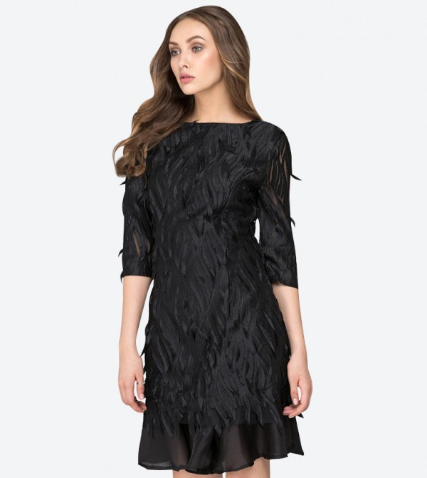 8aaf0fc2dc2a9 OWN THE LOOKS Round Neck Crow Sleeved Midi Dress - Black