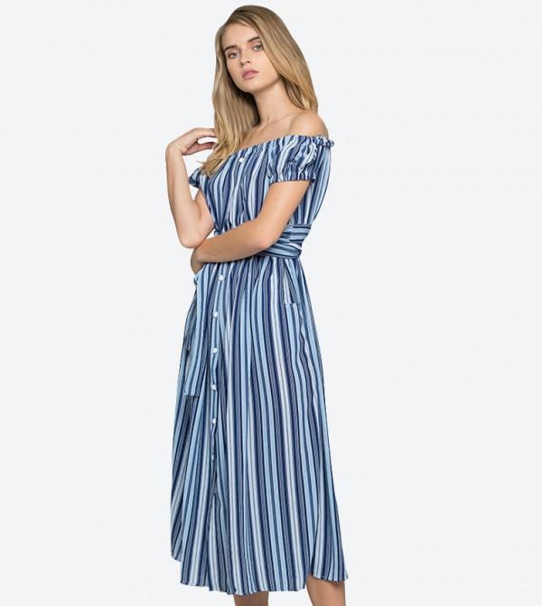 5997f2ebaac OWN THE LOOKS Crepe Stripe Print Off-The-Shoulder Maxi Dress - Blue