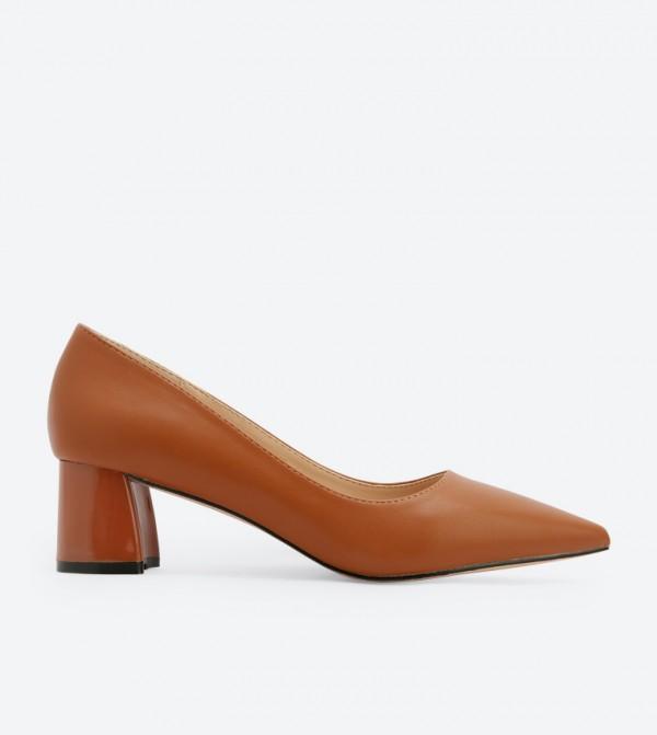 ZAHA Pointed Toe Block Mid Heel Pumps - Brown 7008