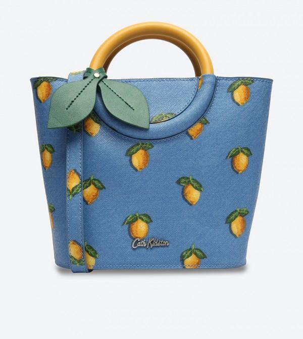 Cath Kidston Lemon Printed Handle Mini Bucket Bag - Blue 755146 CATH 467d9e1723a90