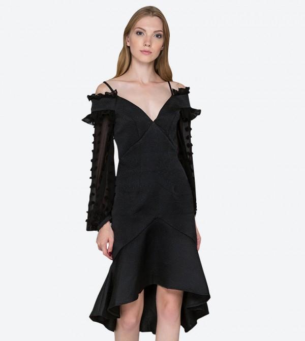 3c04cb2a95a78 OWN THE LOOKS Puff Sleeve V Neck Midi Dress - Black