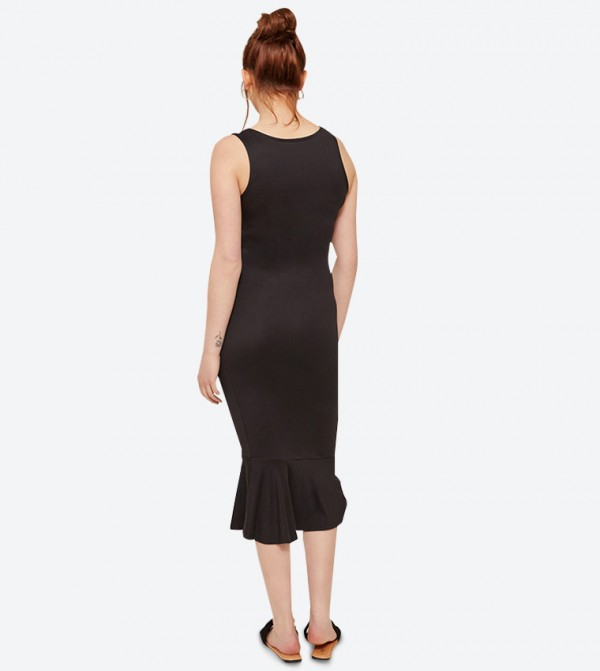 b0c7ed8ff Ardene Square Neck Bodycon Flounced Hem Midi Dress - Black