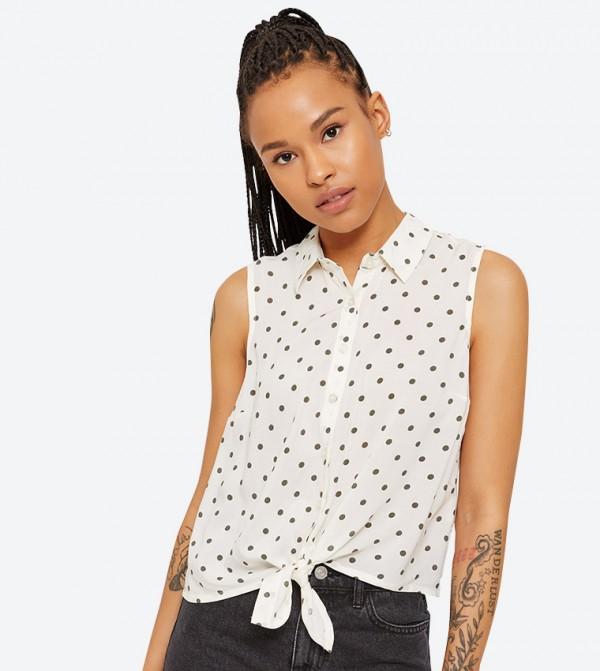 848d847308b55f Ardene Polka Dot Sleeveless Tie Front Shirt - Off White