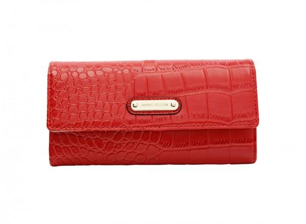 Anne Klein Alligator Alley Slg Handbag Continl Wallet Sm For Women - Man Made Red