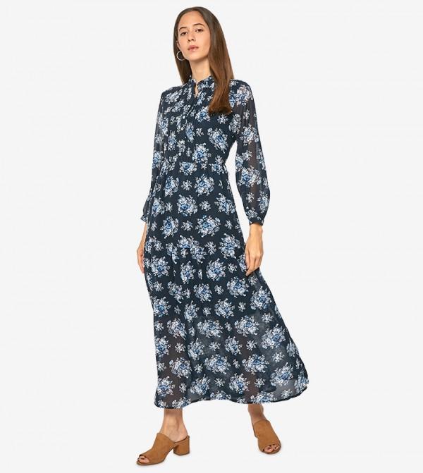cc98712b55b2 Home; Long Sleeve Collared Neck Floral Maxi Dress - Blue. AR80541130U19-BLUE